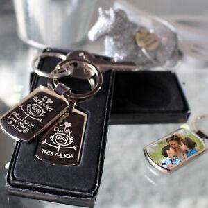 Personalised Fathers Day Metal Keyring Photo Printed/Engraved Keepsakes Pro gift