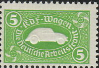 SALE Stamp Germany Revenue WWII 3rd Reich VW War Era KDF Volkswagen Green MNH
