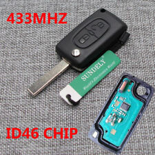 Replace Remote Key Loking Fob 433MHz 2 Buttons ID46 Chip for Peugeot 207 307 308