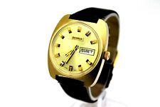 *NOS* Vintage BENRUS Day Date 17 Jewel 14K Gold Plaque Men's Dress Watch CLEAN
