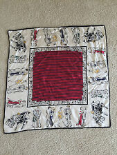 "Talbots Silk Scarf 26""x25.5"" Musical Notes Dancers Cream Black Red Accessories"