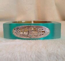 ALEXIS BITTAR Silver Tone Geometric Design, Turquoise Lucite Squared Bracelet