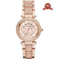 Michael Kors 33mm MK6110 Ladies Mini Parker Rose Gold Chronograph Two Tone Watch