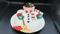 FITZ & FLOYD SNOWMAN SNACK THERAPY CHIP & DIP SERVING DISH 2004 17 X 12 WITH BOX
