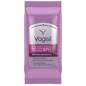 Vagisil, Anti-Itch Medicated Wipes Maximum Strength For Instant Relief 20 Wipes.