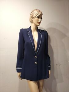 ST JOHN Collection By Marie Gray Size 6 Navy Blue Nautical Blazer Jacket (#mmsm)