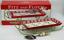 Fitz & Floyd Mingle Jingle Be Merry Cheese Tray Sleigh W/ Slicer - New In Box