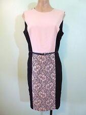Calvin Klein Belted Dress size 8 Sleeveless Black Pink Blush Lace Panel Sheath