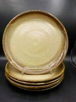5 Studio Pottery Dinner Plates Artist Chop Mark Earthy Brown Glaze Stoneware