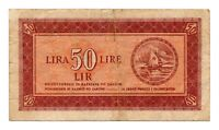YUGOSLAVIA banknote 50 Lira 1945 red serial number VF+