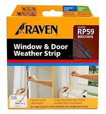 Raven WINDOW & DOOR WEATHER STRIP Self Adhesive Rubber Covers 2-4mm Gap 5m BROWN