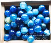 5 Pieces Of Gemstone Crystal Blue Lace Agate Beads 10mm DIY Jewellery Making Art