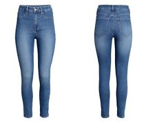 New H&M Skinny High Ankle Jeans Washed Stretch Denim High Waist Ultra Slim
