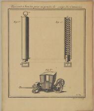 KUTSCHE Stoßdämpfer Original Kupferstich um 1710  AUTOMOBIL Auto PKW Technik