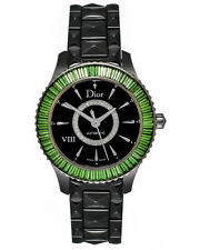 Dior Dior VIII Black Ceramic, White Gold & Baguette Ladies Watch CD1235F1C001