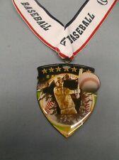 "Baseball color shield medal wide theme neck drape trophy 2 1/2"" x 3"""