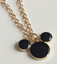 "Gold Mickey Mouse Necklace Ears Black Enamel Plated 17"" Disney Pendant USASeller"