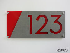 Modern House Numbers, Concrete & Red  Acrylic - Sign Plaque - Home Address