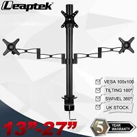 """Triple Arm LCD LED TV Monitor Mount Desk Computer Stand for 13-27"""" Screens UK"""