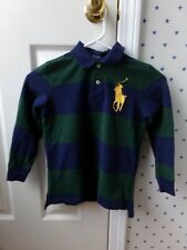 $50 Boys POLO Ralph Lauren Blue Green Striped Big Pony L/S Pique Polo Shirt Sz 7