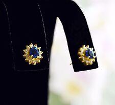 Ceylon Blue SAPPHIRE & DIAMONDS k18 Yellow Gold Pierced Post Back Stud EARRINGS