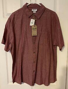 Wrangler Brick Red Button Down Collared Cotton Mens Short Sleeve Shirt Sz XL NWT