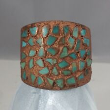 """Solid Copper Vintage Bell Trading Post Turquoise Corinthian Cuff Bracelet 2 1/4"""""""