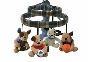 Lambs & Ivy Bow Wow Buddies Musical Crib Mobile - Puppy Dog Sports + Mobile Arm