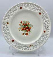 Vintage 1920s Max Roesler Reticulated Strawberry Reticulated Plate 8 3/4""
