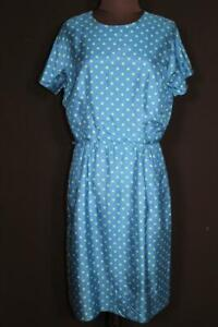 VINTAGE 1960'S BLUE AND GREEN FINE SILK POLKA DOT LINED DRESS SIZE 10-12