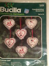 Vintage Bucilla Christmas Heirloom Candlewicking Ornaments (set of 6) Christmas
