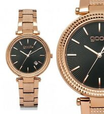 Damen Armbanduhr Schwarz/Rosegold Edelstahlarmband Datum von gooix 149,00 UVP
