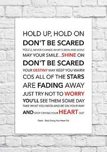 Oasis - Stop Crying Your Heart Out - Song Lyric Art Poster - A4 Size