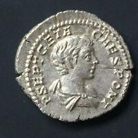 XF GETA, as Caesar.  AR denarius - Vota Publica 3.52g