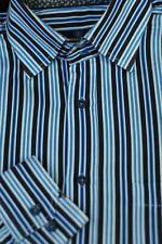 Bugatchi Uomo Homme Marron Bleu Rayure Coton Décontracté Chemise L Large