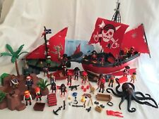 Vintage Playmobil 2 Viking Pirate Ship Ships Red & Black Mixed Lot Accessories
