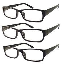 3 PC BLACK FRAME RETRO Geek Nerd Non Prescription Vintage Clear Lens Eye Glasses