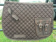 Brown diamond quilted English trail saddle pad w/pockets
