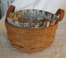 "1996 Round Longaberger Basket with Clear Liner Plus Flower Fabric 5"" Tall"