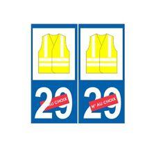 Gilet Jaune numéro au choix sticker autocollant plaque immatriculation auto