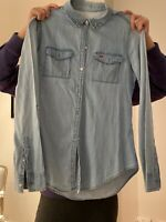 Hollister Ladies Womens Shirt Tee Top Light Denim Long Sleeve Size Small