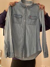 Hollister Ladies Womens Shirt Tee Top Light Denim Long Sleeve Size Small