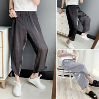 Mens Mesh See-through Casual Loose Trousers Summer Lounge Pants Pajamas Pants US