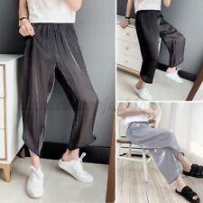 Mens Mesh See-through Casual Loose Trousers Summer Lounge Pants Pajamas Pants US