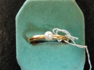 Vintage 1980 Wedding Ring Cultured Pearl On Mount Gold Plated New T.54