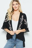 Andree By Unit Boho Open Front Cardigan Floral Embroidery Lace Details Plus 1X