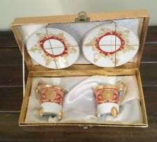 2 Bella Bacci Red & Gold Demitasse Cup & Saucer Sets China Almost Like New