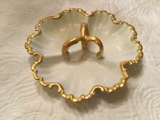 SALE! Vintage Rare 1969 Signed Imogene Ariail Divided Dish White With Gold Trim