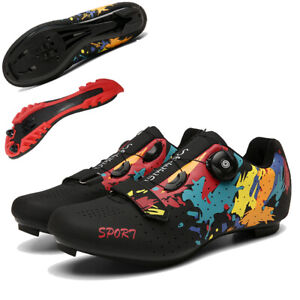 Men Professional Graffiti Cycling Shoes Racing Road Sneaker New Speed Spin Cleat