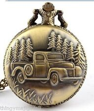Antique Bronze Pocket Watch American Truck 4X4 SUV USA Necklace Dad Fathers Day